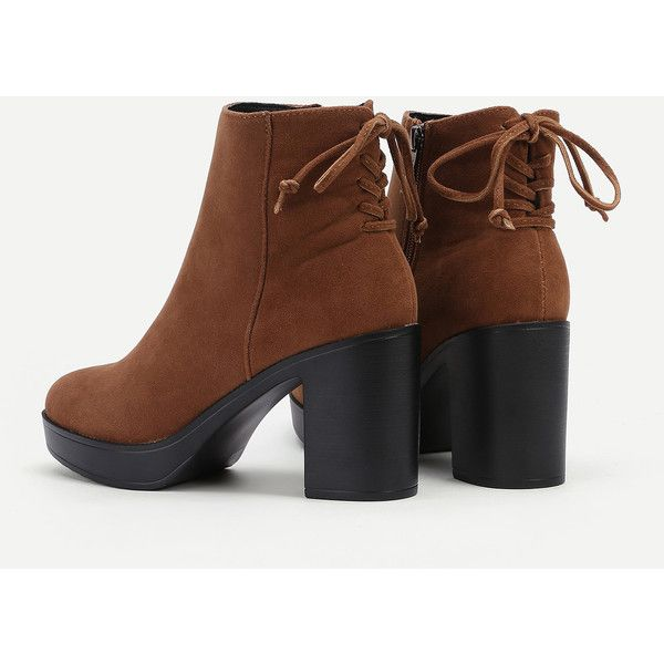 36c8d7bd14cba SheIn(sheinside) Lace Up Back Block Heeled Boots (260 HRK) ❤ liked ...