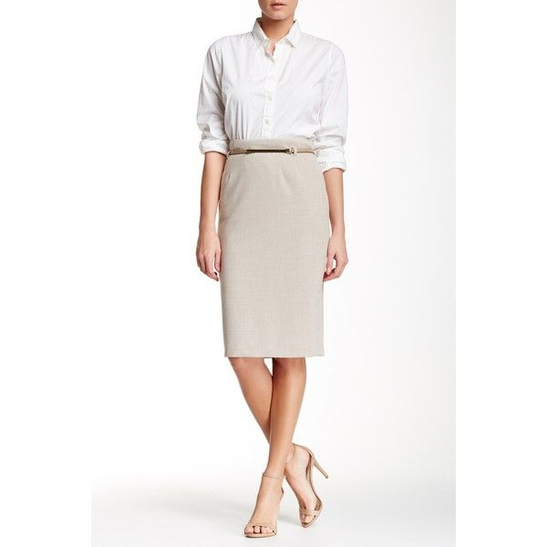 Amanda & Chelsea Signature Belted Pencil Skirt (130 SAR) ❤ liked on Polyvore featuring skirts, oatmeal, calf length skirts, pencil skirt, calf length pencil skirt, belted pencil skirt and white knee length skirt