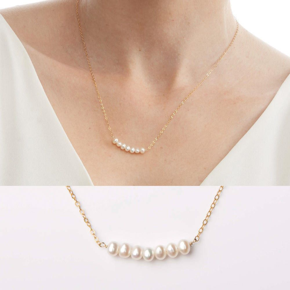 14 Karat Solid Gold-Small Freshwater Pearl Necklace-Bridal