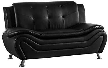 Kingway Furniture Gilan Faux Leather Living Room Loveseat in Black