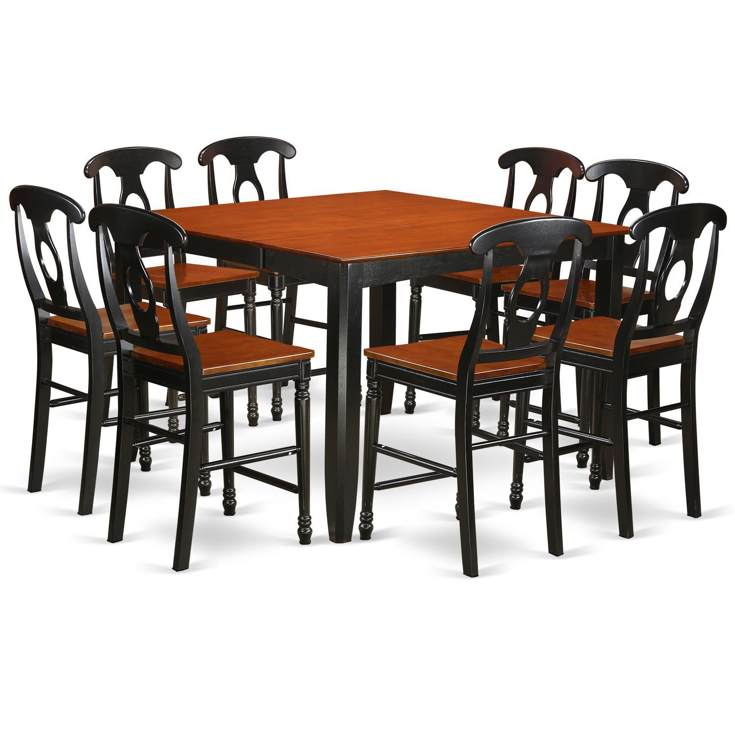 Black Rubberwood Nine Piece Counter Height Pub Set With Table And Eight  Dining Room Chairs