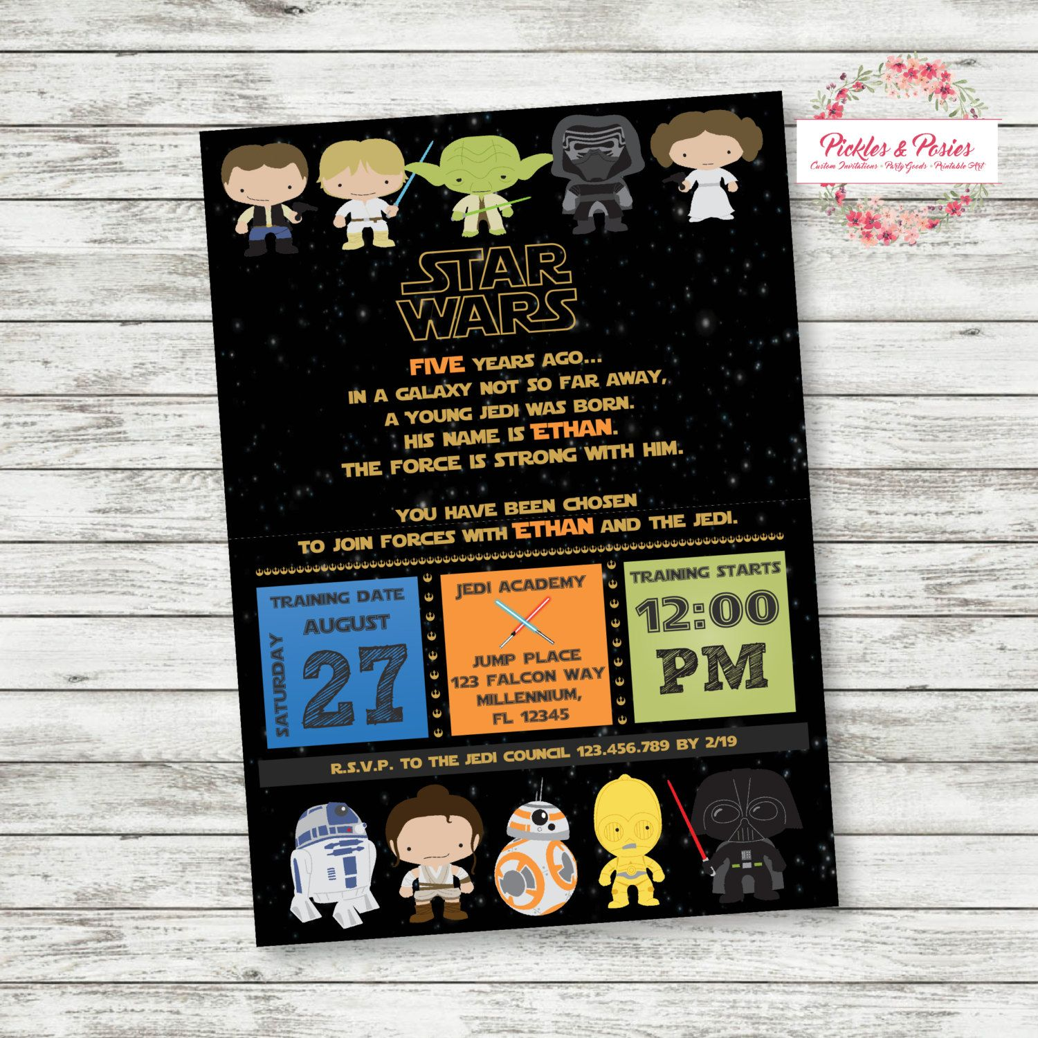 The Force Awakens Star Wars Birthday Invitations Personalized