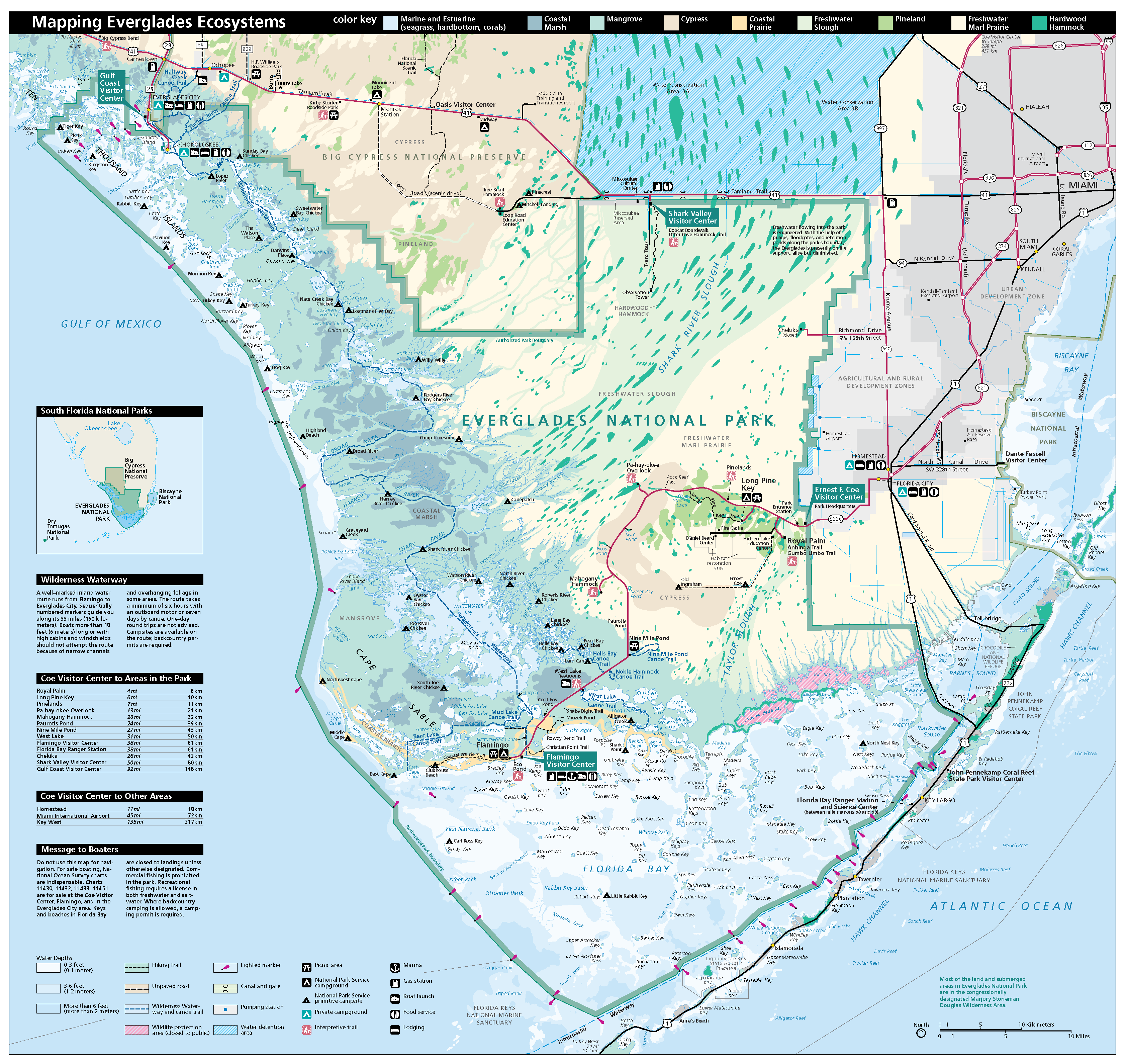 Everglades National Park Map Hiking Trails Pinterest - Everglades on us map
