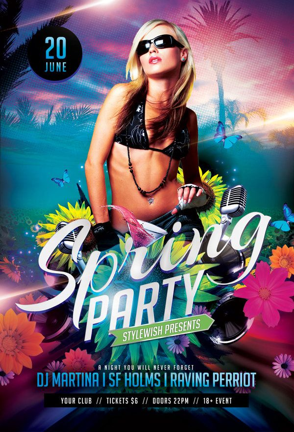Spring Party Flyer | Party Flyer And Spring