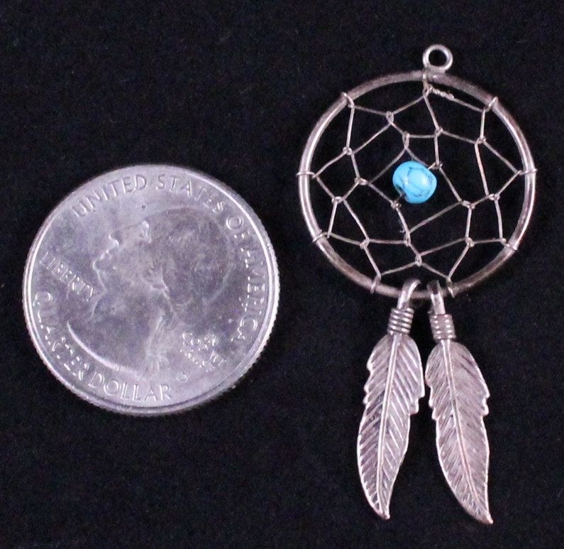 Vintage Native American Sterling Silver & Turquoise Dream Catcher Pendant by Paststore by paststore on Etsy