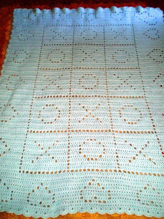 Vintage Afghan Crochet Pretty Cuddle Soft Baby Blue Hearts an Tic ...