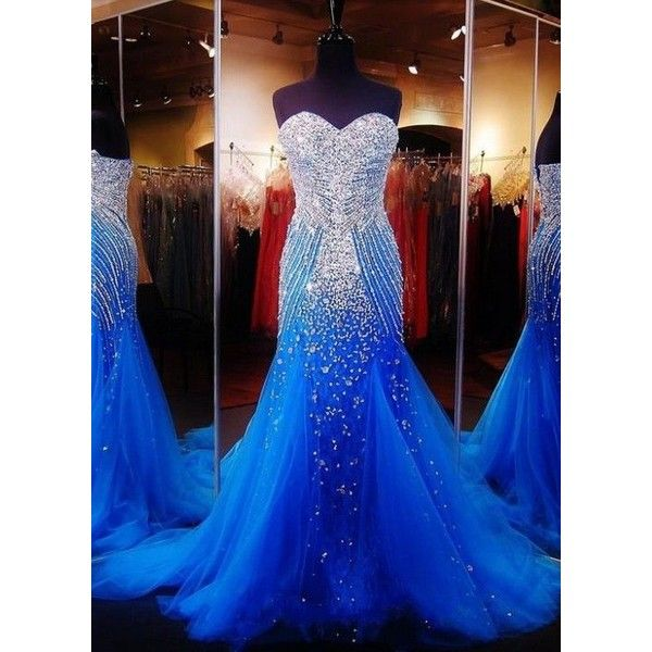 Fully Beading Tulle Long Mermaid Formal Evening Dress Prom Pageant... ❤ liked on Polyvore featuring dresses, long dresses, blue cocktail dresses, formal cocktail dresses, blue dress and prom dresses
