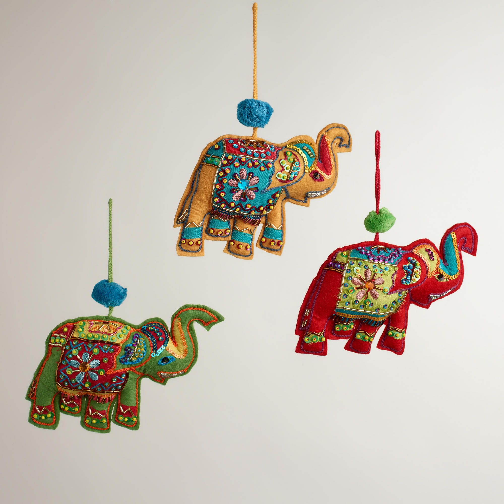 Embroidered Fabric Indian Elephant Ornaments, Set of 3 | World ...
