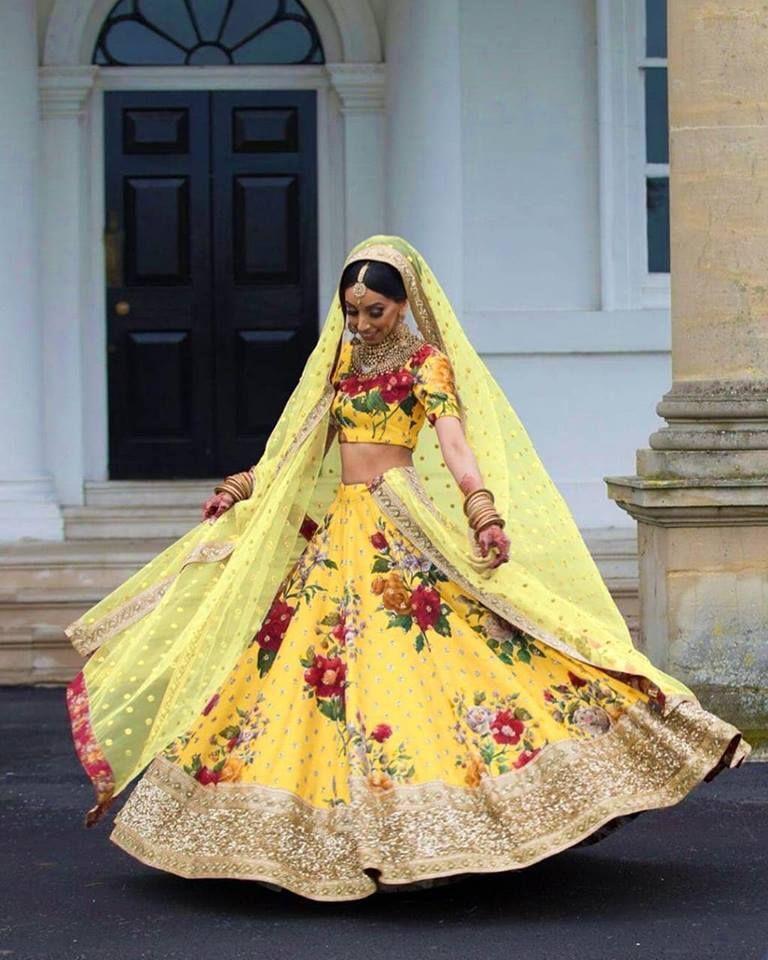 Haldi Ceremony Yellow Floral Lehenga SFB42 Buy Wedding