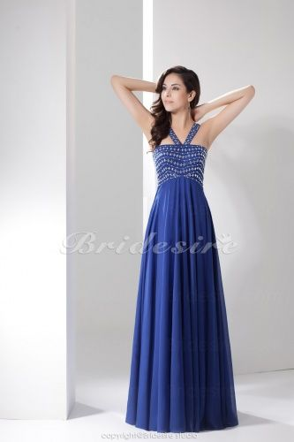 A-line Halter Floor-length Sleeveless Chiffon Dress - $107.99