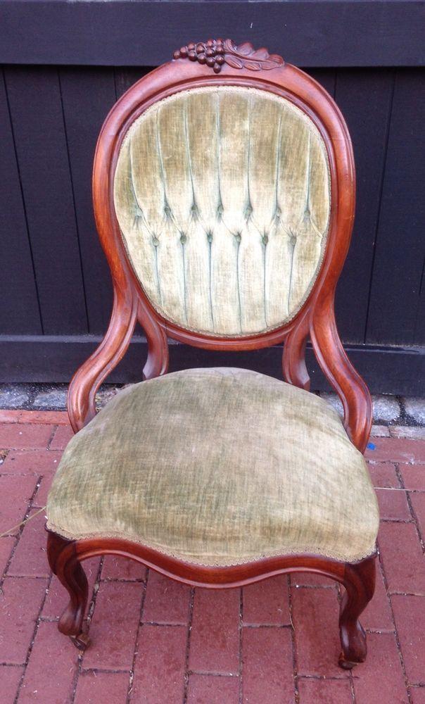 Victorian Tufted Velvet Walnut Ladies Parlor Chair On Wheels Antique - Victorian Tufted Velvet Walnut Ladies Parlor Chair On Wheels