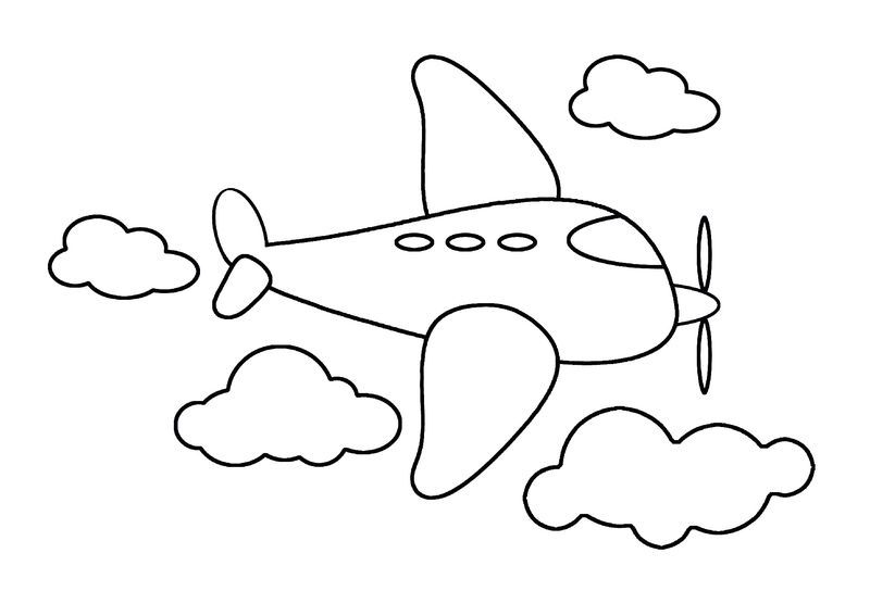Airplane Color Page Simple Easy Drawings Drawing Videos For