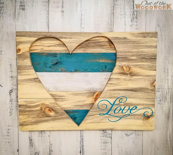 MULT COLOR OPTIONS! Personalize! Wood Heart Wall Art Decor