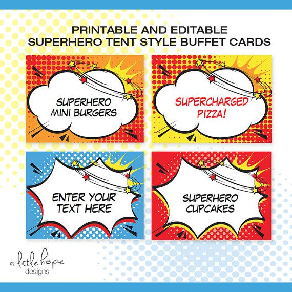 Superhero EDITABLE Folding Buffet Card Food Label Dessert Label Food Tent / Instant  sc 1 st  Pinterest & Superhero EDITABLE Folding Buffet Card Food Label Dessert Label ...