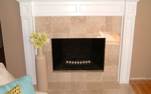 Here S A Masonry Fireplace With Custom Marble Tiles And A Custom
