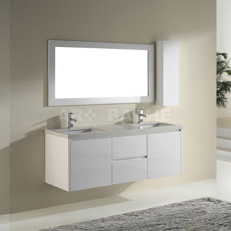 Barros 63 High Gloss White Bathroom Vanitiy With Coffee Quartz Counter Option