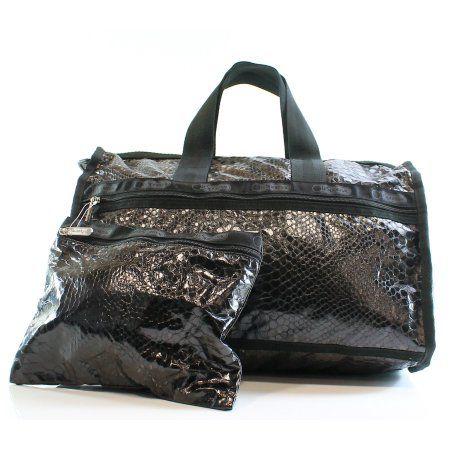Lesportsac New Black Crinkle Patent Large Weekender Tote Purse Bag At