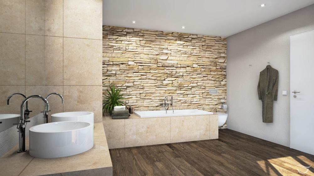 Badezimmer Rustikal Modern #17: Steinmauer Als Highlight Für Das Rustikale Feeling Im Badezimmer