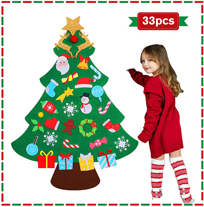 Amazon Com Jumping Meters Diy Felt Christmas Tree For Toddlers 2020 For Kids Christmas Toy In 2020 Toddler Christmas Tree Diy Felt Christmas Tree Christmas Craft Kit