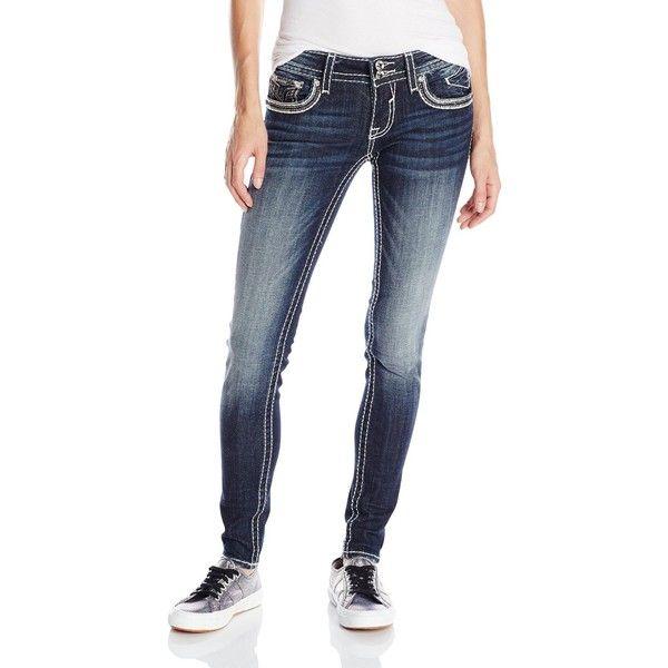 Vigoss Junior's Dark Wash Chelsea Skinny Jean with Rhinestone ($46) ❤ liked on Polyvore featuring jeans, dark wash jeans, white jeans, frayed skinny jeans, rhinestone studded jeans and skinny jeans