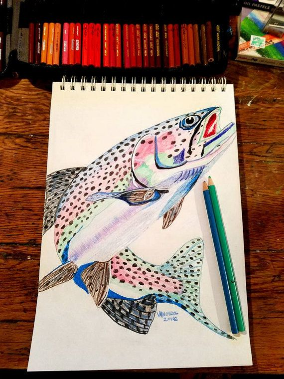 RAINBOW TROUT Colored Pencil Sketched Art By by MySalvagedPast