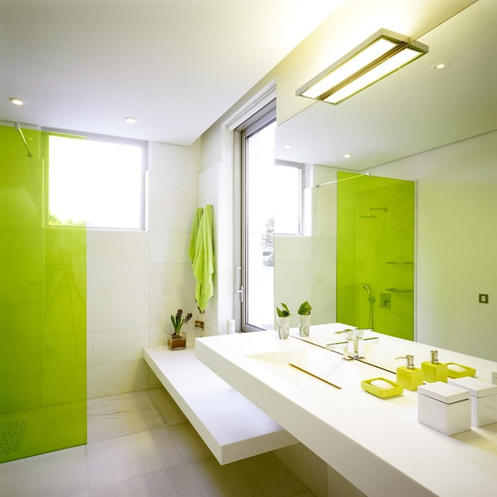 Modern Minimalist Bathroom Design with Combination of Lime Green and ...