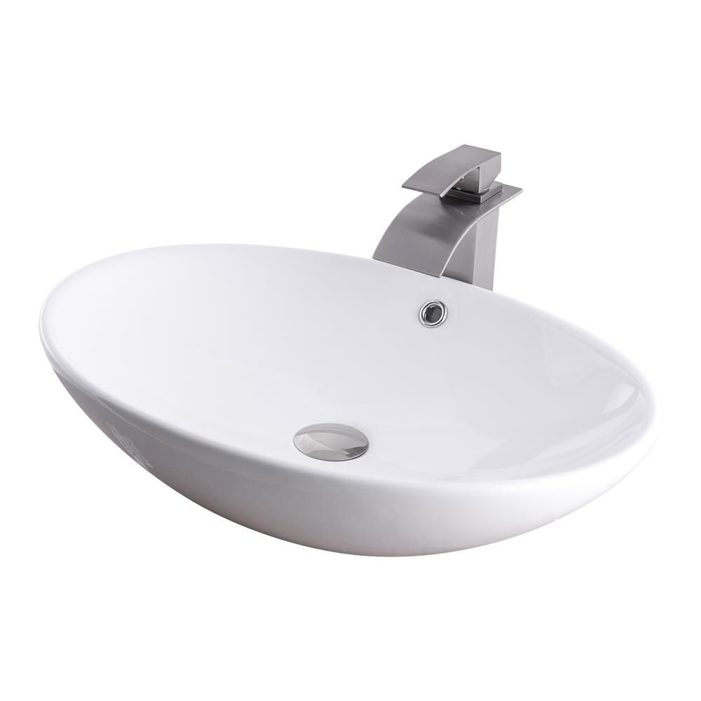 Photo of Novatto ship washbasin in white with tap in chrome white-NSFC-V07W136CH – The Home Depot