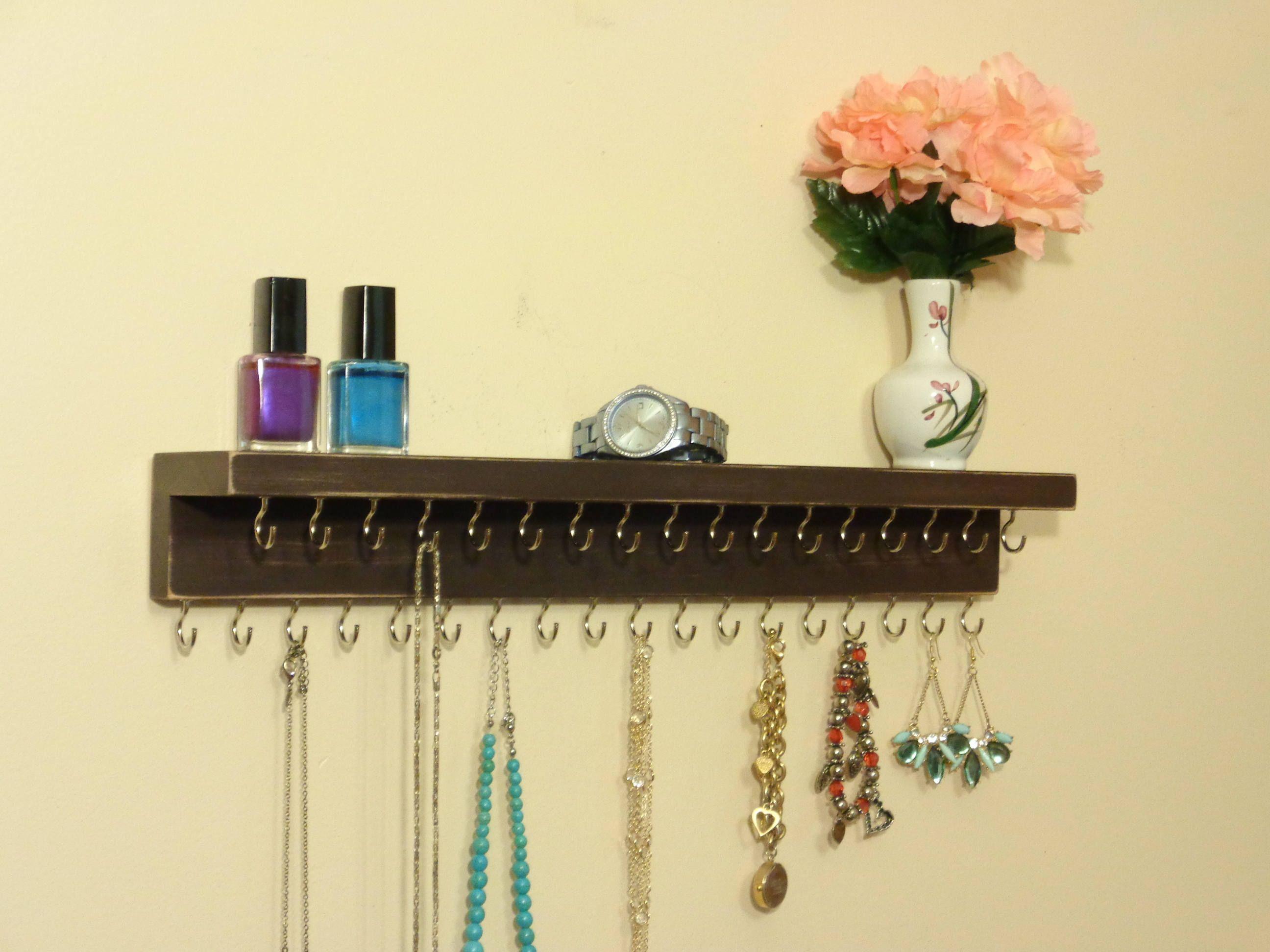 Jewelry Rack - Necklace Holder - Jewelry Organizer - Distressed Dark ...