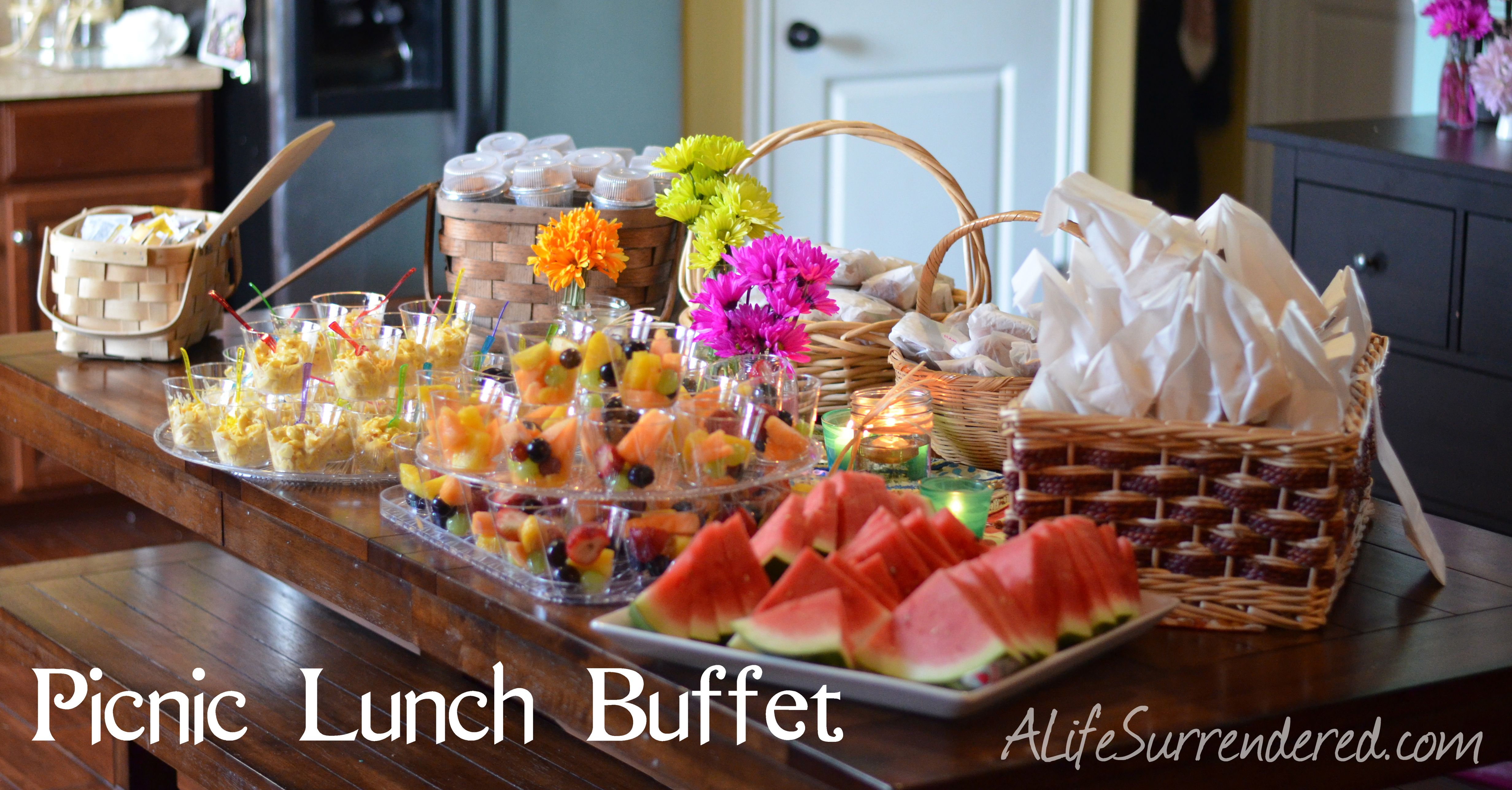 picnic lunch buffet for an outdoor party on the menu fil a