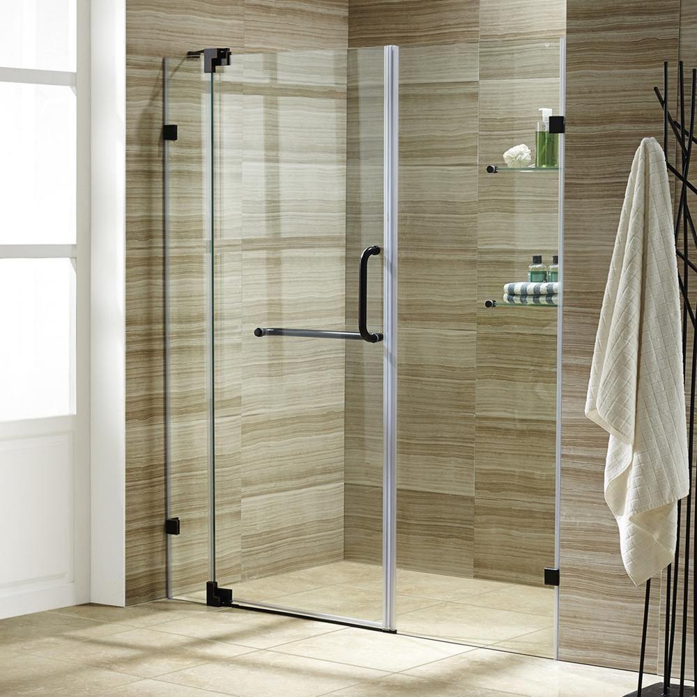 vigo pirouette 66 in x 72 in frameless pivot shower door with