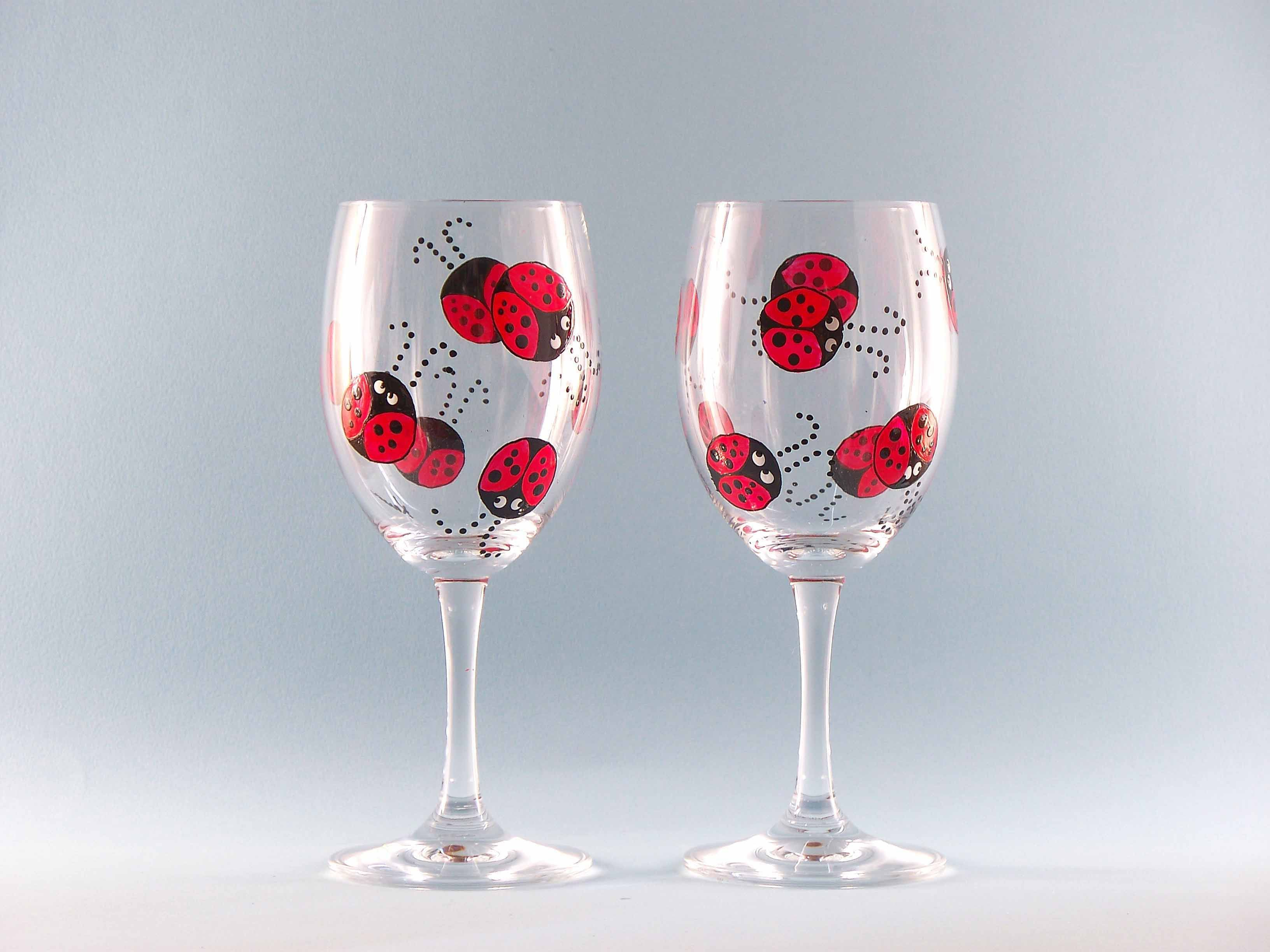 Hand painted ladybug wine glasses set of two glass Images of painted wine glasses