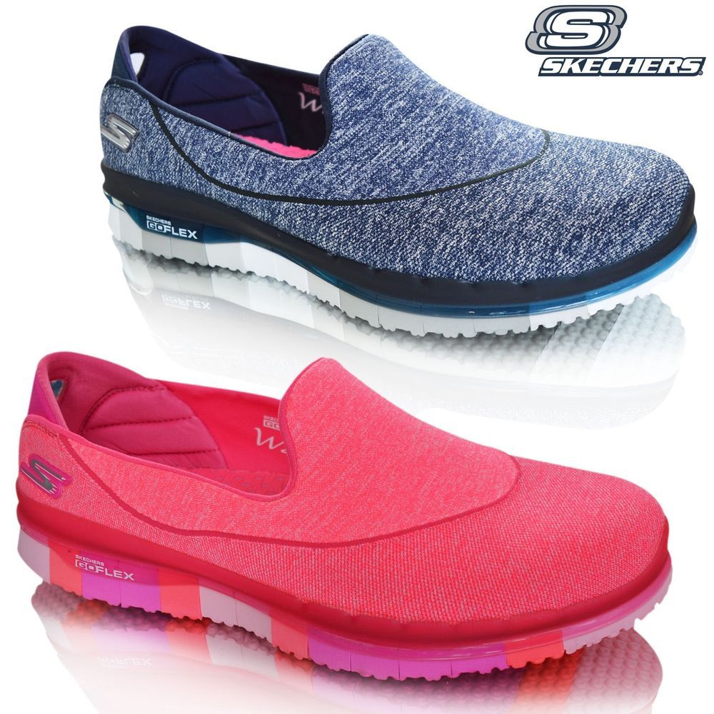 93c8105ca64a Skechers Ladies Womens Go Flex Walk Memory Foam Slip On Pumps Trainers Shoes  NEW