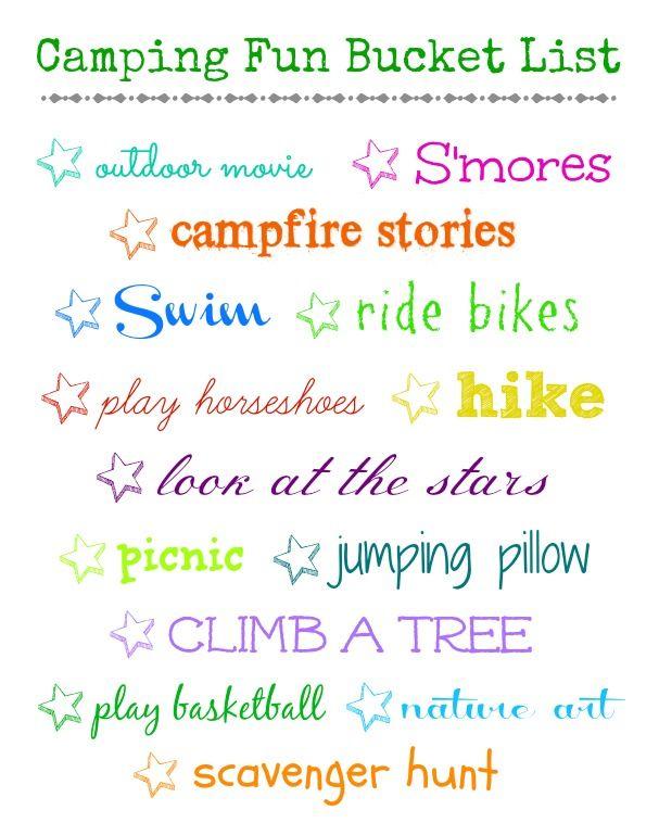 C&ing Fun Bucket List - Organize and Decorate Everything  sc 1 st  Pinterest & Camping Fun Bucket List - Organize and Decorate Everything ...