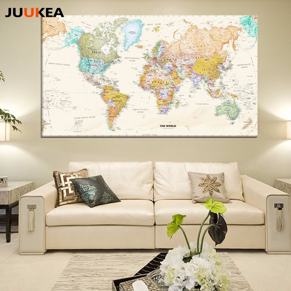 Hot Sale Classic Vintage World Map No Frame Canvas Painting Art ...