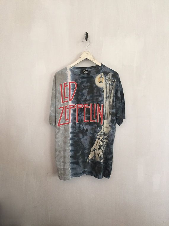 Led Zeppelin Shirt Vintage T Shirt Band T Shirts 90s Vintage Band Tee 70s Rock Tees Stairway To Heaven Liquid Blue Tie Dye Xl Clothes Fashion Vintage Band Tees