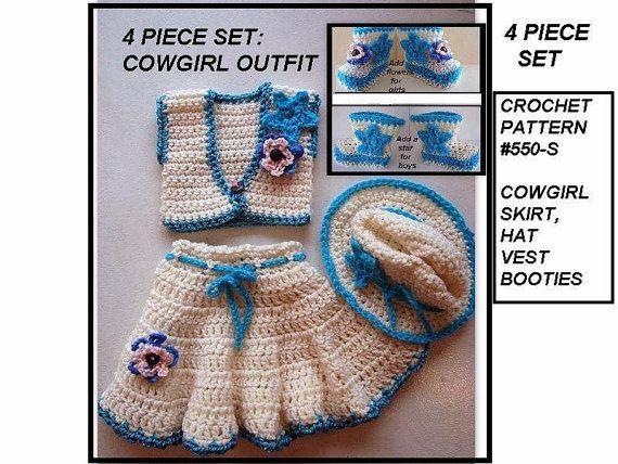 Crochet Pattern Baby Cowgirl Skirt Hat Vest Booties 4 Piece