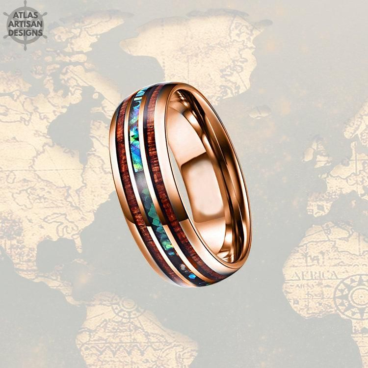 mens gold opal wedding band