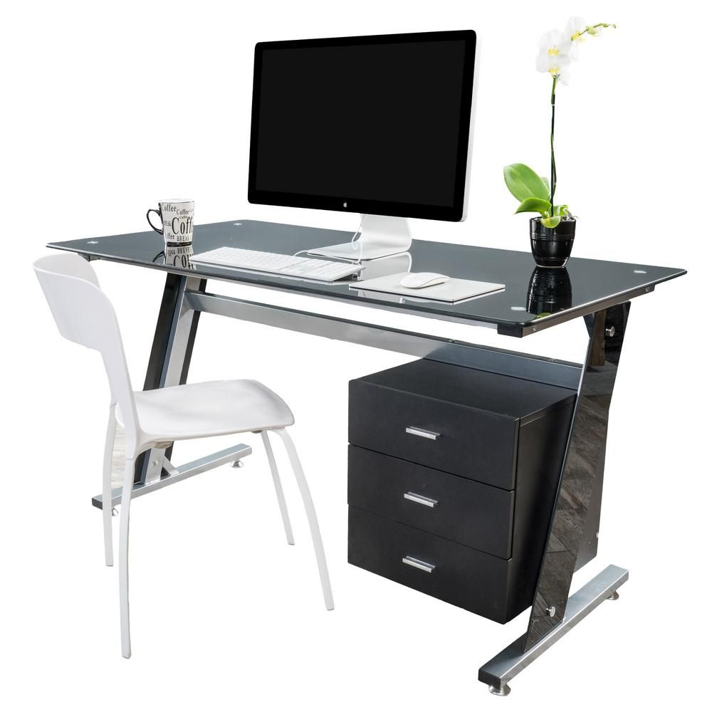 Noble House Beta Black Computer Desk With A 3 Drawer Cabinet