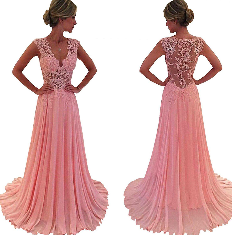 Kissbridal womenus applique prom dress lace chiffon bridesmaid