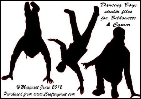 Dancing Boys studio files for Silhouette or Cameo on Craftsuprint designed by Margaret Jones - Make a card for a break-dancing teenager with these silhouettes of boy dancers. - Now available for download!