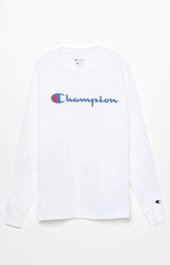 Champion Patriotic Script Long Sleeve T Shirt | Long sleeve