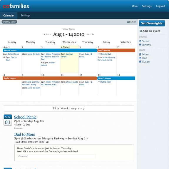 Cofamilies A Free Calendar For Coparents Step Parents  Blended