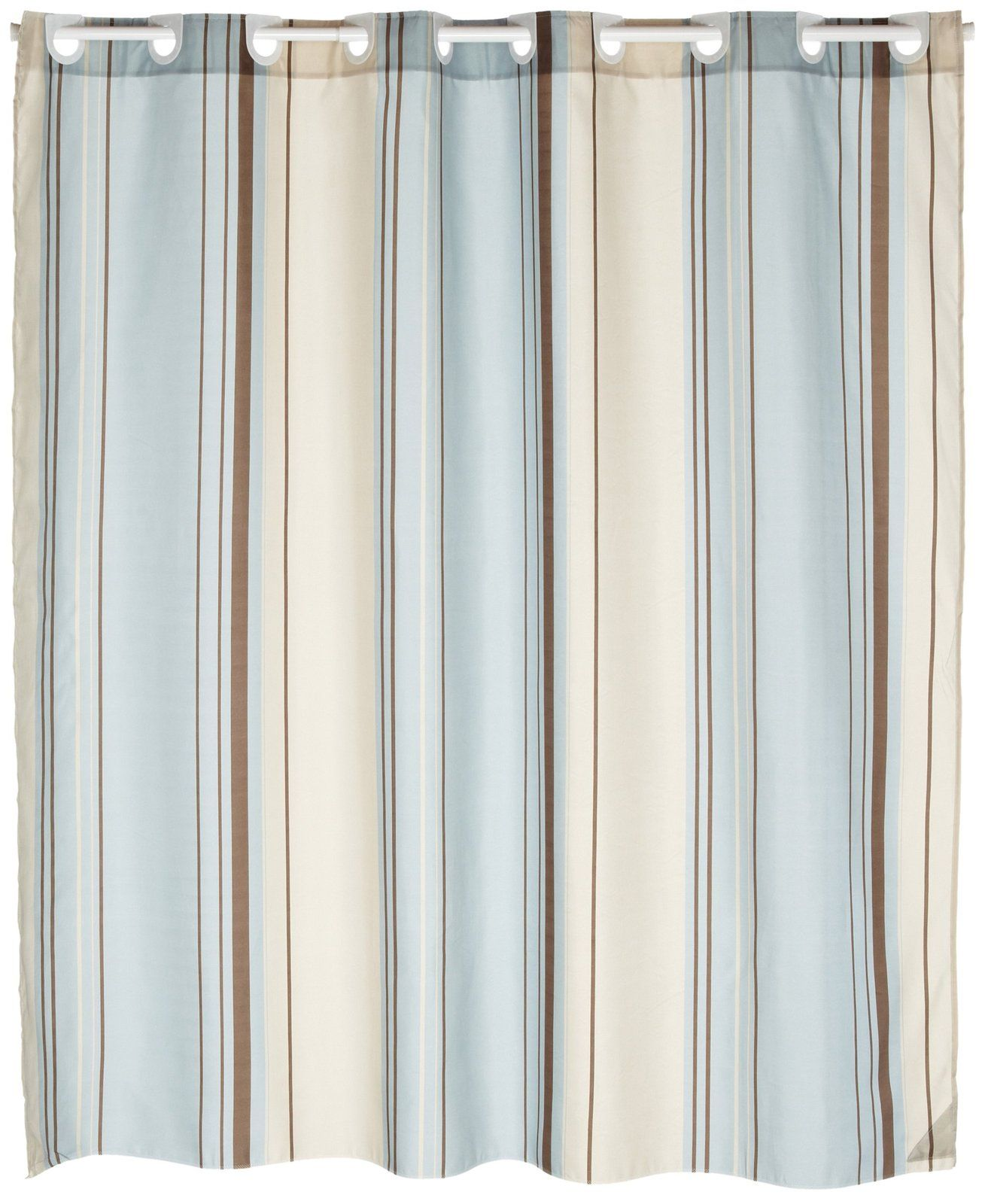 Carnation Home Fashions Ez On Fabric Shower Curtain Blue Stripes Free Shipping With Images Blue And Brown