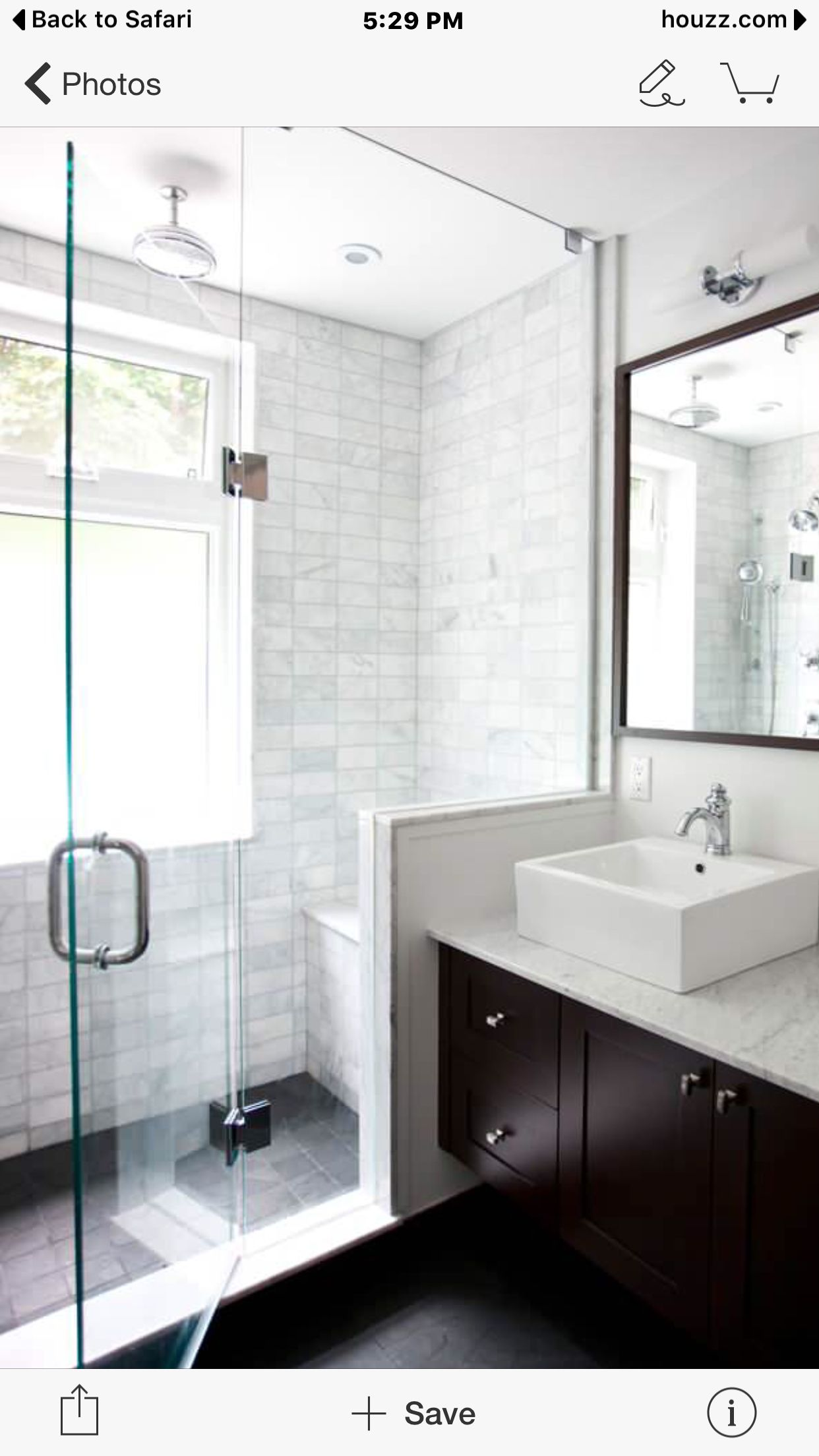 White Vessel Light Counter Dark Wood Small Master Bathroom Bathroom Remodel Master Bathroom Design