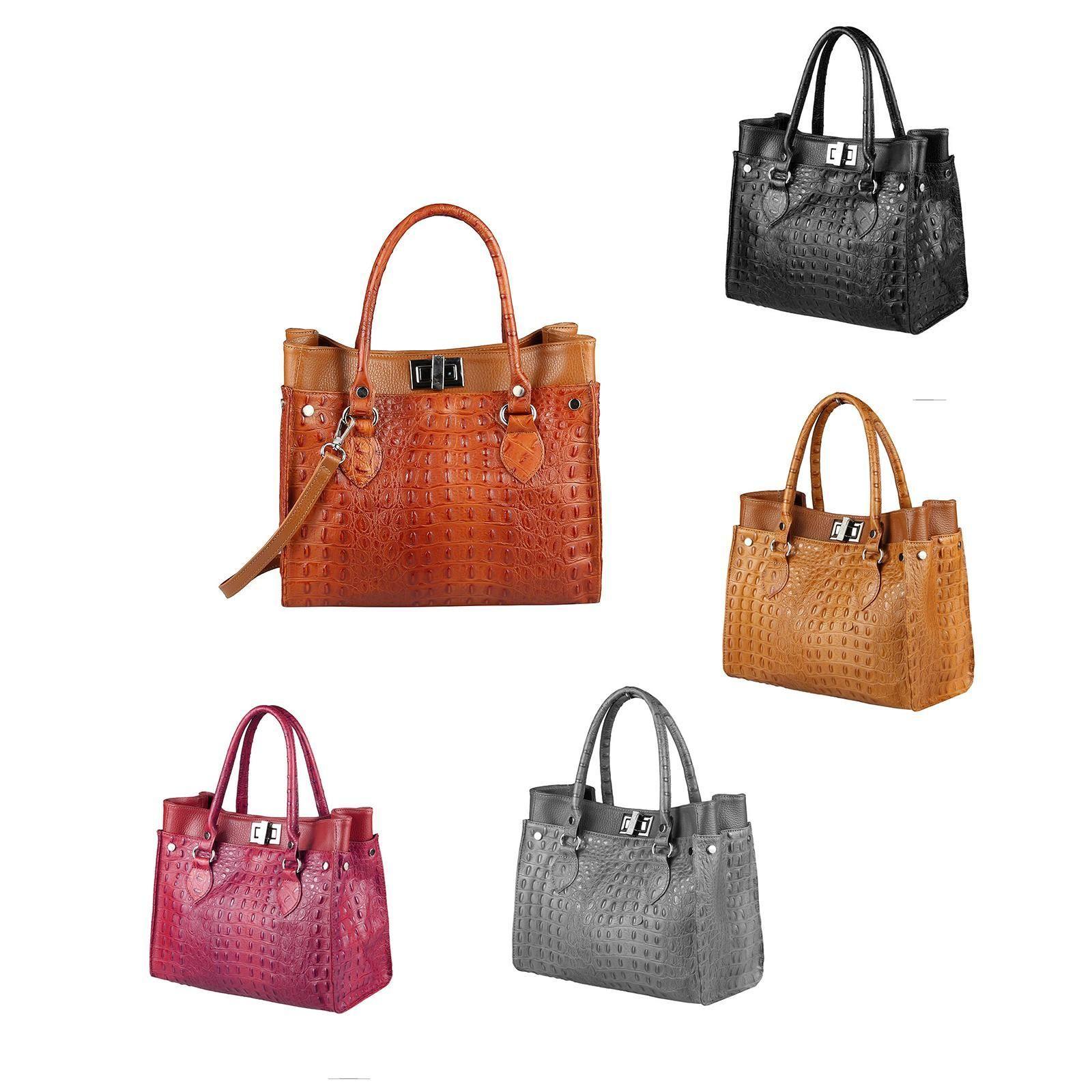7ca9a513281d3 OBC Made in Italy DAMEN LEDER TASCHE Business Schultertasche Shopper  Handtasche Kroko-Prägung Umhängetasche
