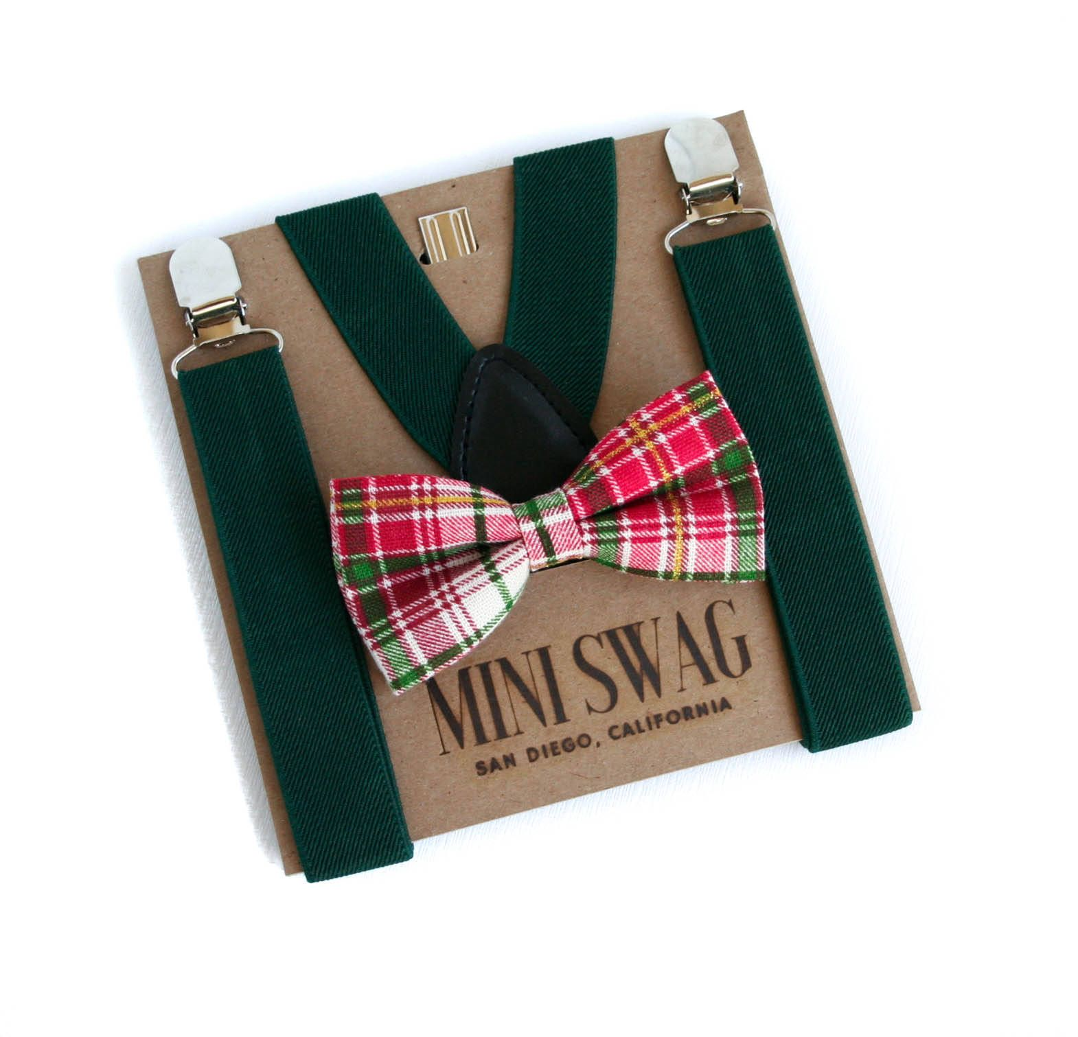 Christmas Bow Tie And Suspenders, Plaid Bow Tie, Green Suspenders,