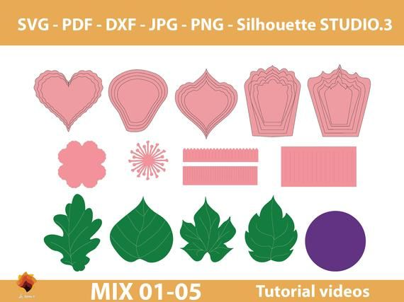 05 Mix Paper flowers SVG, Giant paper flower template Pdf, paper flower center svg, paper leaf template DXF Png Jpg for Cricut silhouette #leaftemplate