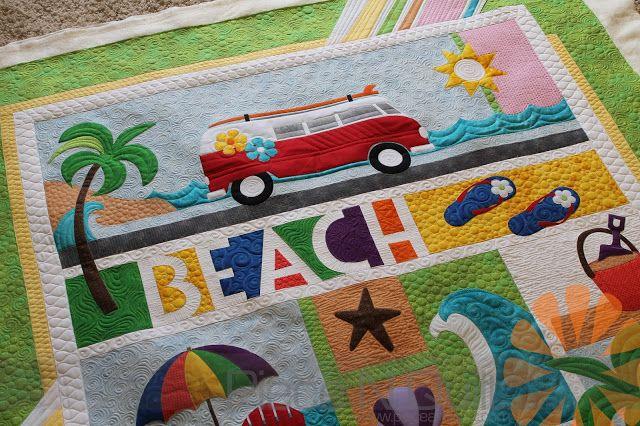 Beach Break Custom Machine Quilting By Natalia Bonner Piece N Quilt Beach Quilt Machine Quilting Freemotion Quilting