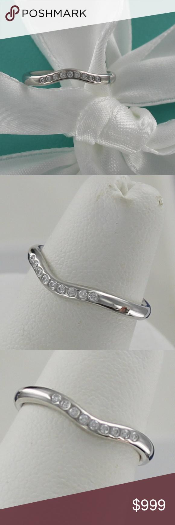 Tiffany Curved Wave Diamond Wedding Ring Band Wedding