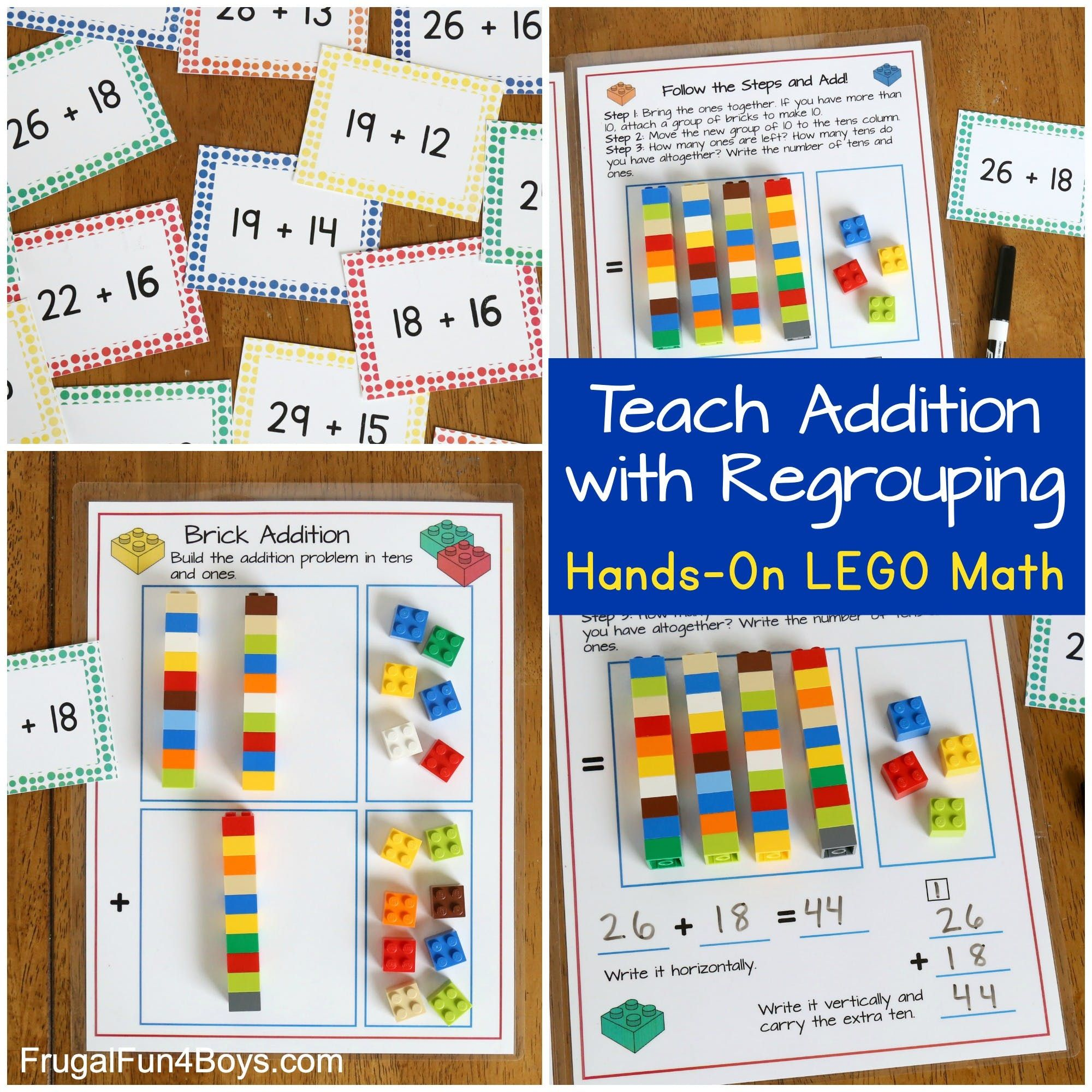 Addition With Regrouping With Lego Bricks Frugal Fun For Boys And Girls Lego Math Math Addition Games Regrouping How to teach addition with carrying